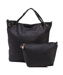 Fiona Trends Black PU Shoulder Bag,6008_BLACK