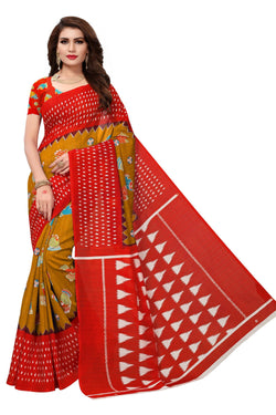 16TO60TRENDZ Red Color Printed Bhagalpuri Silk Saree $ SVT00458