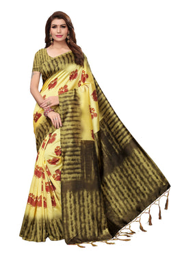 16to60trendz Yellow Art Silk Printed Mysore Art Silk Saree $ SVT00199