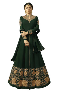 YOYO Fashion Georgette Anarkali Semi-Stitched salwar suit $F1296-Green