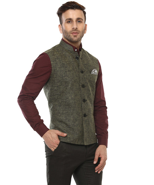 Lee Marc Jute Green Linen Cross Nehru Jacket