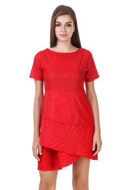 Fashians Red Half Sleeve Layered Dress $ FS-1700004