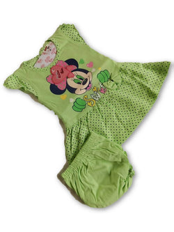 Minnie Printed Frock Combo With Panty Green $ CP_SC011