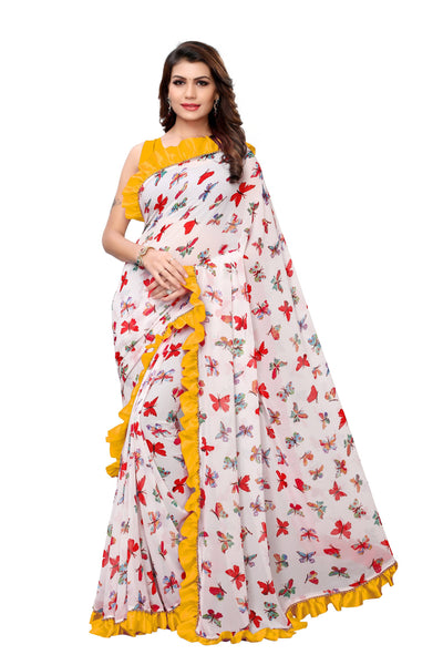 YOYO Fashion Georgette Printed Ruffle Saree $ YO-SARI2656-Yellow