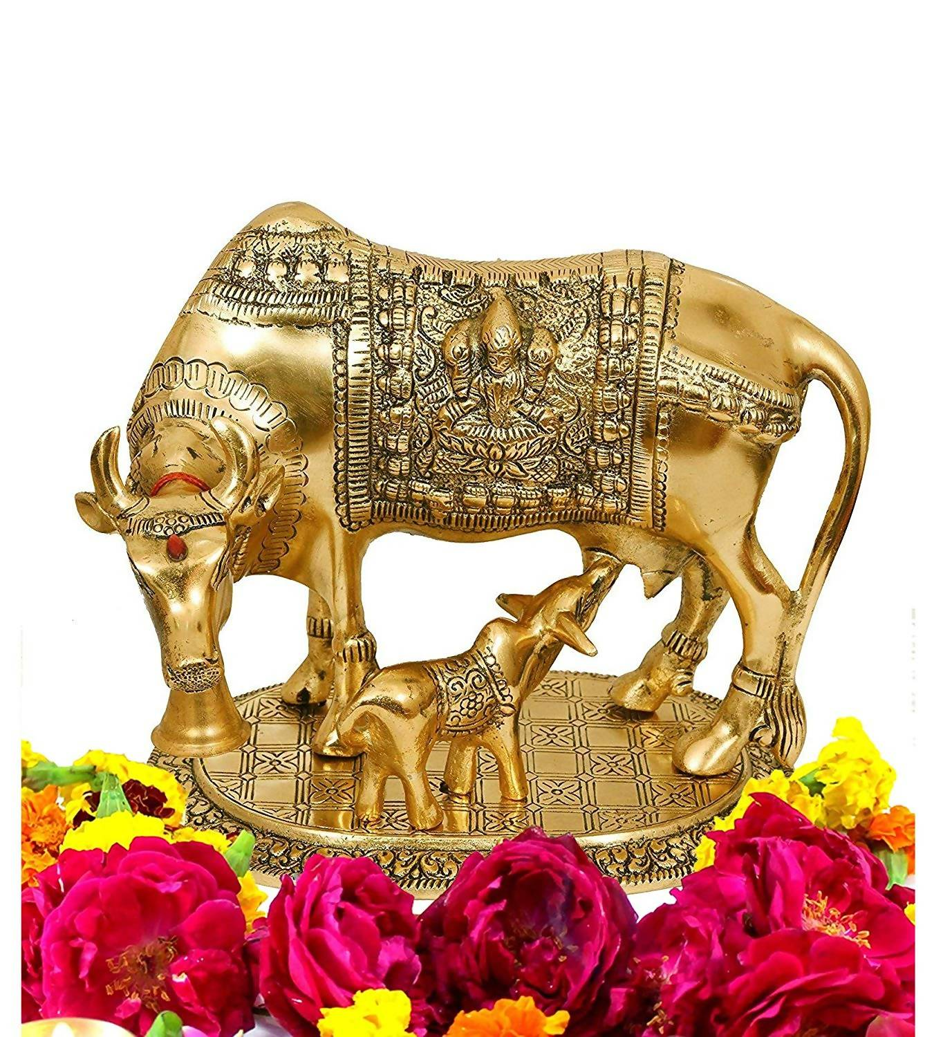 Gold Plated Hindu Religious Laxmi Ganesh Kamdhenu Cow with Calf (18 cm,  Gold) Exclusive Gift Items for Diwali Gift, Wedding Gift and Corporate Gift  $