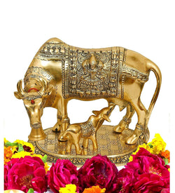 Gold Plated Hindu Religious Laxmi Ganesh Kamdhenu Cow with Calf (18 cm, Gold) Exclusive Gift Items for Diwali Gift, Wedding Gift and Corporate Gift $ IGSPBR1087