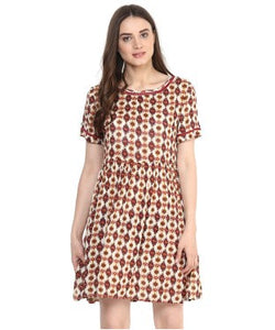 Miway Maroon Printed A-Line Dress