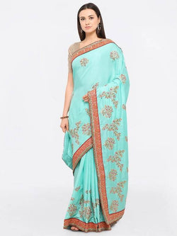 Umang NX Green Cotton Designer Embroidery Sarees $ UN5569