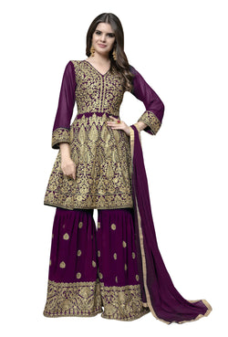 YOYO Fashion Purple Faux Georgette Anarkali Palazzo & YO-F1314
