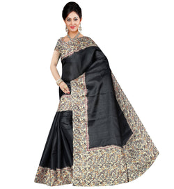 BL Enterprise Women's Bhagalpuri Cotton Silk Black Color Saree With Blouse Piece $ BLLB-42