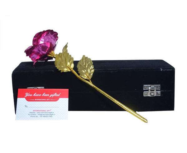 Valentine Gift Pink Rose 25 cm with Black Velvet Box Packing (25 cm, Pink) $ IGF-103