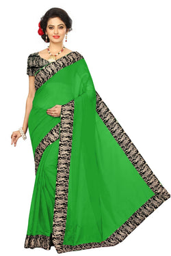 16to60trendz Green Chanderi Lace Work Chanderi Saree $ SVT00068