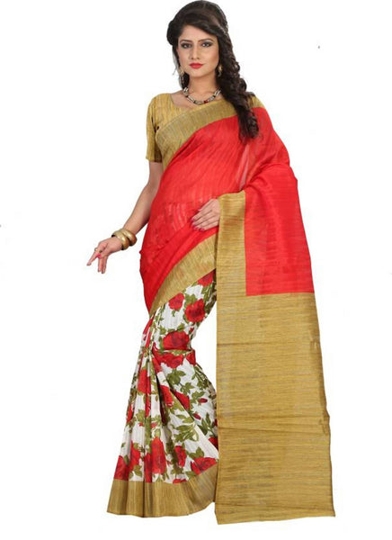 16TO60TRENDZ Red Color Printed Bhagalpuri Silk Saree $ SVT00506