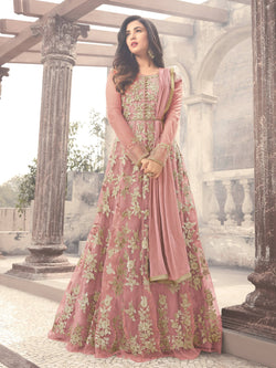 YOYO Fashion Latest Fancy Semi-stitched Net Embroidered Anarkali Salwar Suit Gown $YO-F1211