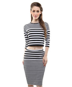 Miss Chase Black And White/Black And White 3/4 Slv Top And Knee Legnth Skirt
