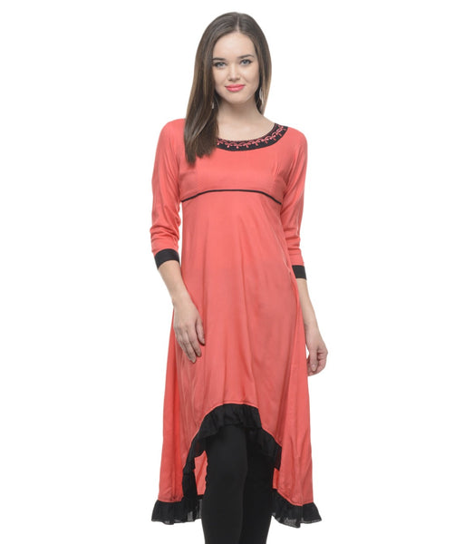 KAVYANI Orange Rayon Kurti-WE757ORANGE_ORANGE