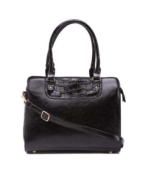 Fiona Trends Black PU Shoulder Bag,105_BLACK