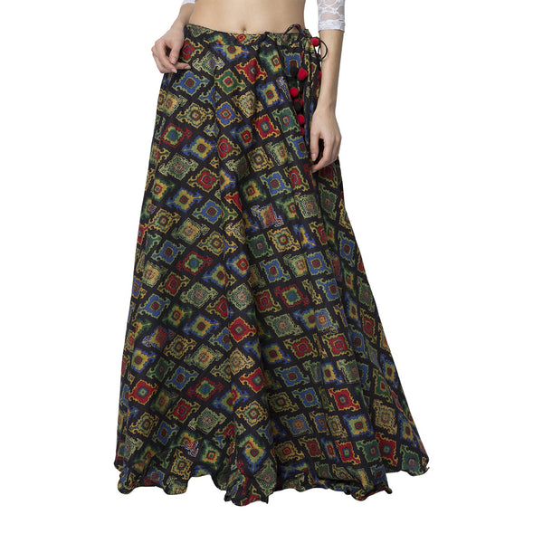 La Vastraa's Black Printed Long Women's Cotton Skirt-LS01
