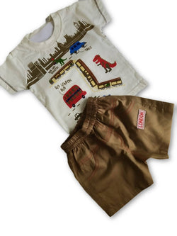 Boys White Printed Tshirt & Brown shorts Set $ CP_SC017
