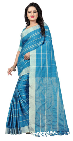 YOYO Fashion Latest Fancy Linan Cottan  Sky Blue  Saree $SARI2584 Sky Blue