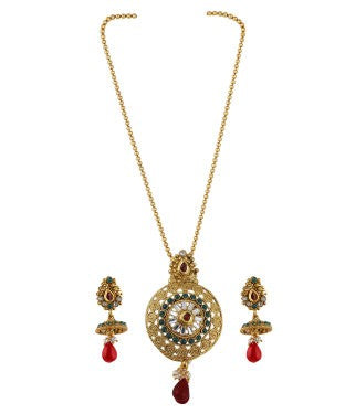 Aradhya Brass, Stone, Metal Jewel Set (Gold, Red, Pink, Green, White, Purple)