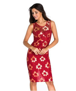 Golden Embroidered Red Floral Dress