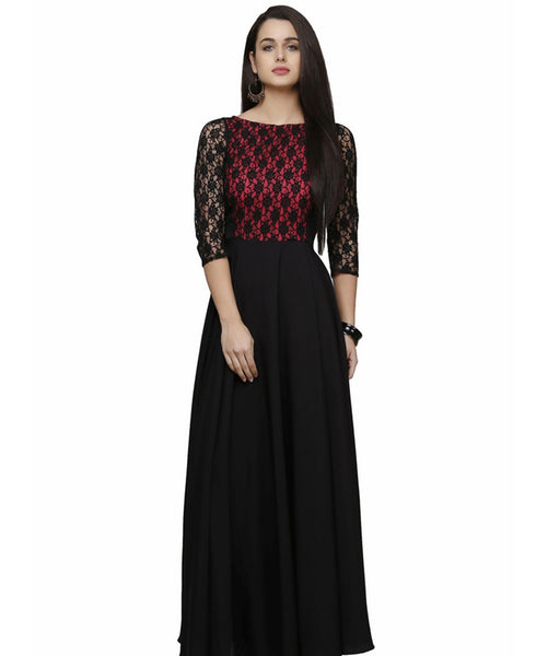 Fabricvilla New Delightful Crepe Black, Maroon Long Anarkali style Gown