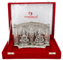 International Gift Silver Finish Laxmi Ganesh God Idol Oxidized Silver Finish With Red Velvet Box Exclusive Gift For Diwali Gift $ SI-163