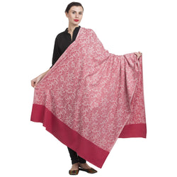 La Vastraa Women's Reversible Wool Blend Soft Pink Shawl-HKS0195