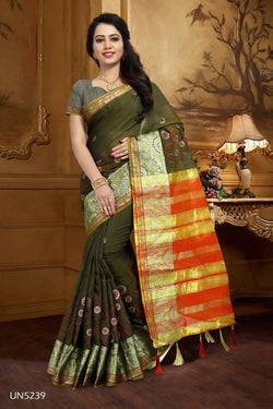 Umang NX Green Art Silk Designer Weaving Sarees $ UN5239