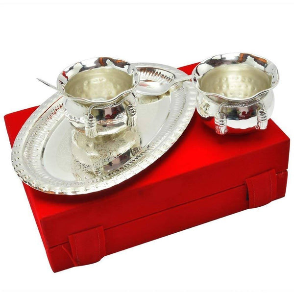 German Silver Bowl Handi with Spoon and Tray with Velvet Box Packing (Set of 5 Pics, Silver) with Velvet Box Packing Exclusive Gift Items for Diwali Gift, Wedding Gift and Corporate Gift $ IGSPBR104