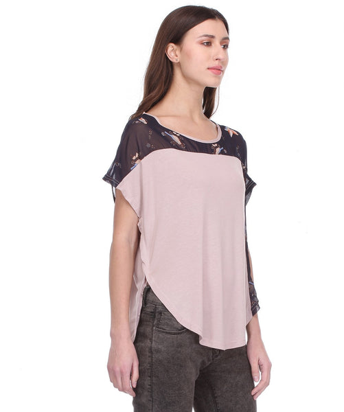 Glam a gal mauve and multi s/s top