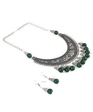 Aradhya Alloy Jewel Set (Silver, Green)