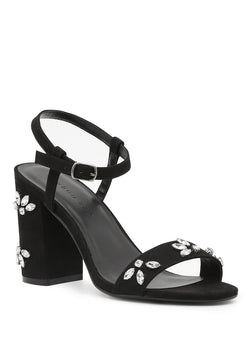 London Rag Women Black Embellished Ankle Strap Peep Toe Sandals $ SH1554