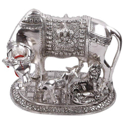 Silver Plated Hindu Religious Laxmi Ganesh Kamdhenu Cow with Calf and Laddu Gopal (18 cm, Silver) Exclusive Gift Items for Diwali Gift, Wedding Gift and Corporate Gift $ IGSPBR1089