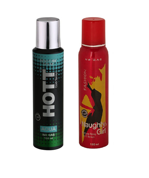 HOTT Mens AQUA & Naughty Girl FASHION - (Set of 2, No Gas Deodorant for Couple) (150ml each)