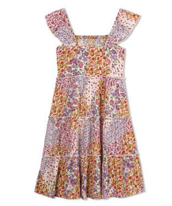 Budding Bees Girls Multi Floral Embroidered Dress