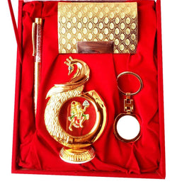 Gold Plated Ball Pen with Visiting Card Holder with Key Ring and Peacock Hanuman God Idol Car Dashboard and Home Temple with Velvet Box $ IGSPBR101054