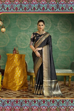 Umang NX Black Art Silk Designer Weaving Sarees $ UN4739