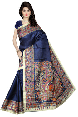BL Enterprise Women's Bhagalpuri Cotton Silk Kalamkari Blue Color Saree With Blouse Piece $ BLLB-24