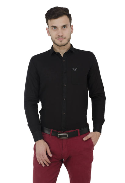 Baluchi Solid Regular Full Sleeve Linnen Black Formal Shirt $ BLC_MNSHIRT_01
