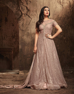 YOYO Fashion Nylon Net Anarkali Semi-Stitched salwar suit $F1298
