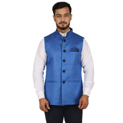 Singhal Fashion Sky Blue Jute Nehru Jacket