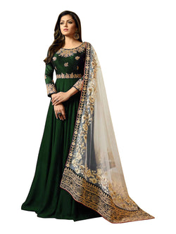 YOYO Fashion Blue Faux Georgette Anarkali Salwar Suit & YO-F1251-Green