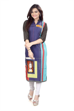 Manvi Fashion Women's Designer Partywear Multi Color American Crepe Fabric Digital Printed Readymade Kurti $ MF 2834