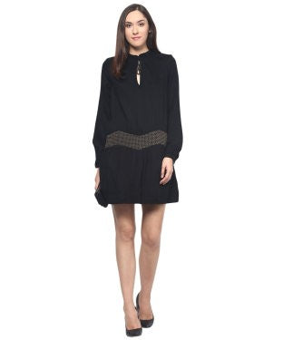 Miway Black Embroidered Shift Dress