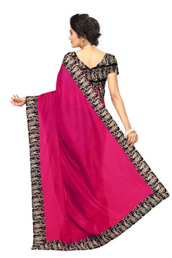 16to60trendz Pink Chanderi Lace Work Chanderi Saree $ SVT00070