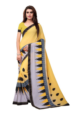 YOYO Fashion Embroidered Georgette Yellow Saree With Blouse $ YOYO-SARI2615-Yellow