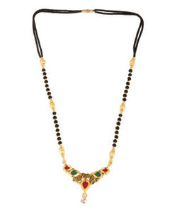 Adoreva Red Green White Diamond Gold Plated Alloy Traditional Fashion Mangalsutra