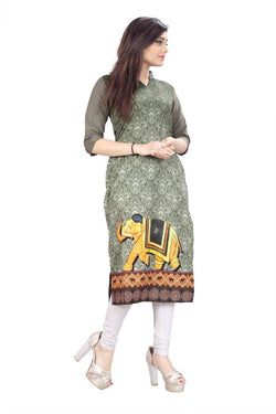 Manvi Fashion Women's Designer Partywear Multi Color American Crepe Fabric Digital Printed Readymade Kurti $ MF 2833